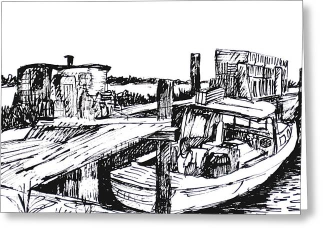 Boat And Lobster Traps Greeting Card