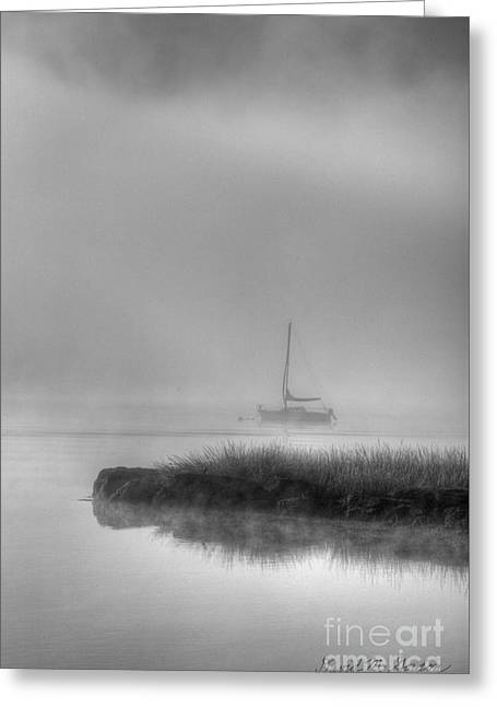 Boat And Morning Fog Greeting Card