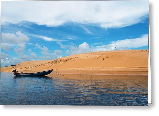 Boat And Sand Dune Along The Preguicas Greeting Card by Keren Su