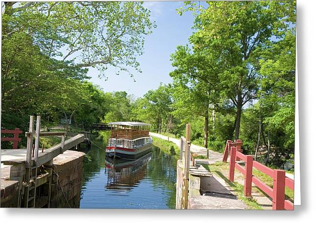 Boat Approaching An Open Canal Lock Greeting Card