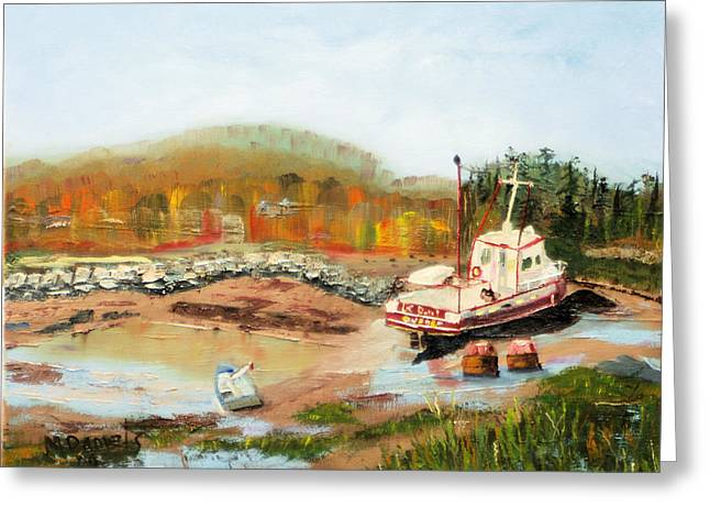 Boat At Bic Quebec Greeting Card by Michael Daniels