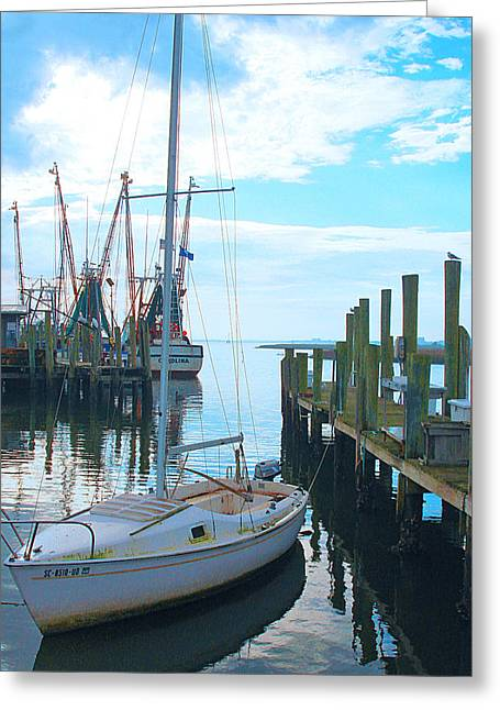Boat At Dock By Jan Marvin Greeting Card
