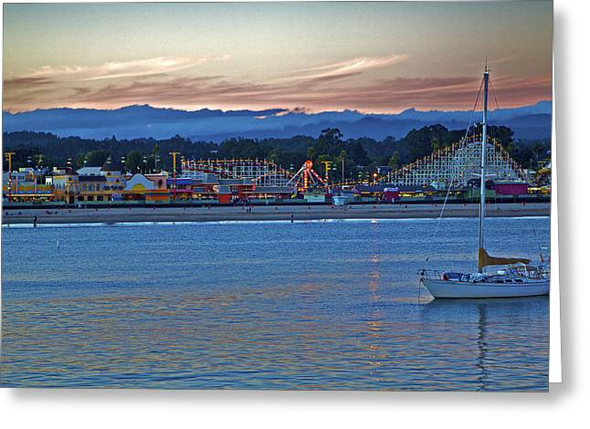 Boat At Dusk Santa Cruz Boardwalk Greeting Card