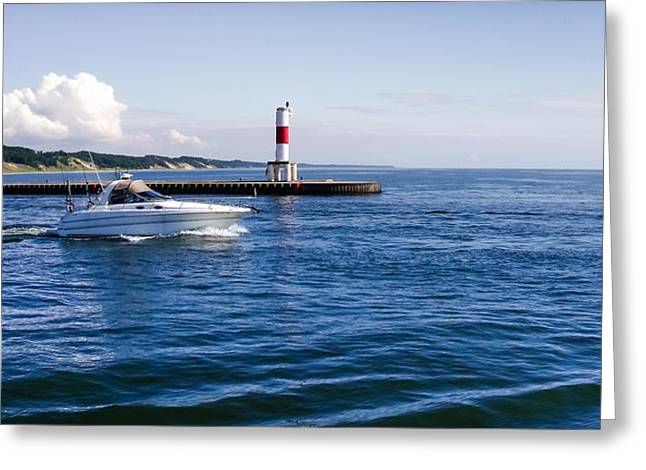 Boat At Holland Pier Greeting Card