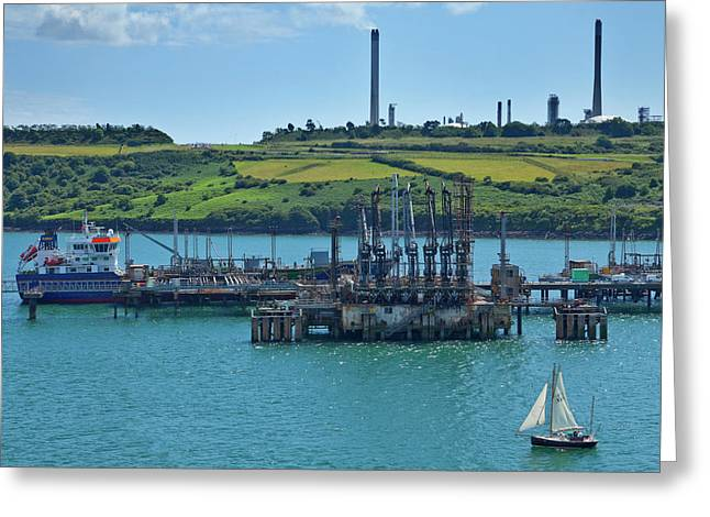Boat At Refinary In Milford Haven Greeting Card by Panoramic Images