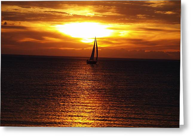 Boat At Sunset Greeting Card by Susan Crossman Buscho