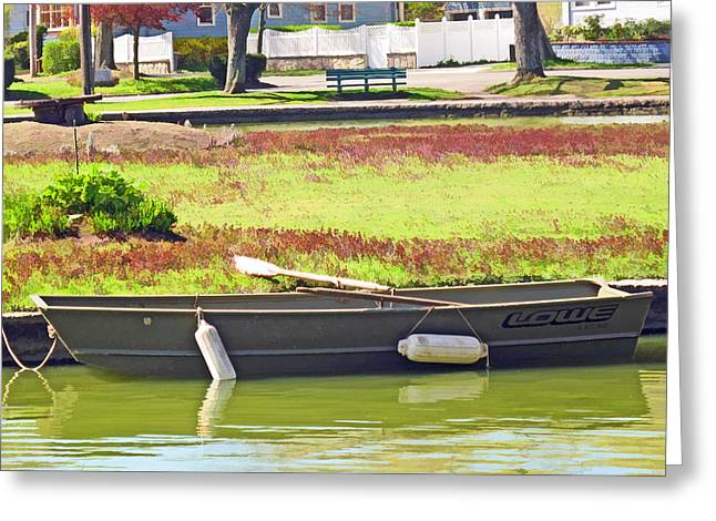 Boat At The Pond Greeting Card by Barbara McDevitt