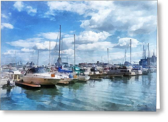 Boat - Boat Basin Fells Point Greeting Card by Susan Savad