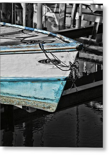 Boat Bow In Black White And Blue Greeting Card by Lynn Jordan