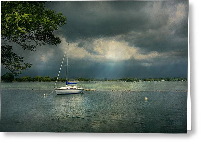 Boat - Canandaigua Ny - Tranquility Before The Storm Greeting Card by Mike Savad