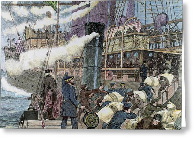 Boat Carrying Goods In The Port Greeting Card by Prisma Archivo