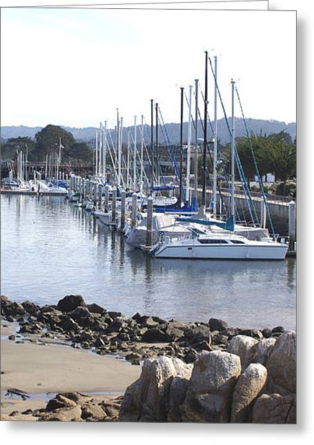 Boat Dock And Big Rocks Right Greeting Card by Barbara Snyder