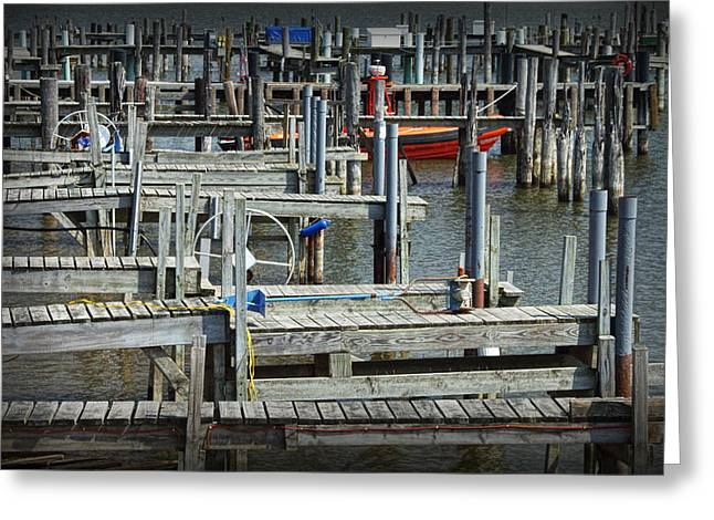 Boat Docks In Lake Macatawa Greeting Card by Randall Nyhof
