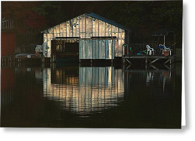 Boat House Effects Greeting Card by Tammy Schneider