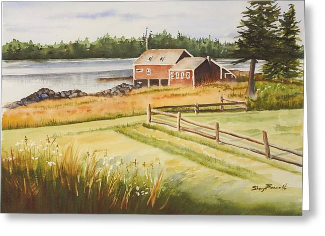 Boat House On Penobscot Bay Greeting Card by Sheryl Bessette