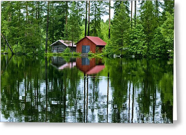 Boat House On Swedish Lake Greeting Card