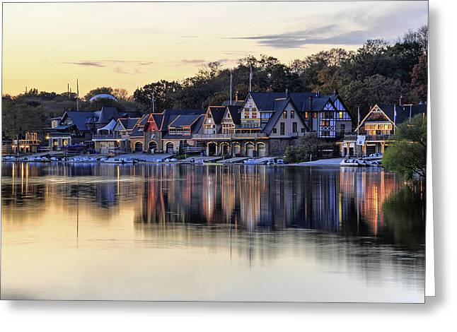 Boat House Row In Philadelphia  Greeting Card by Dan Myers