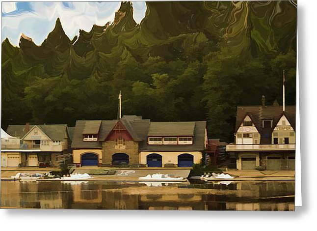Boat House Row Greeting Card by Trish Tritz