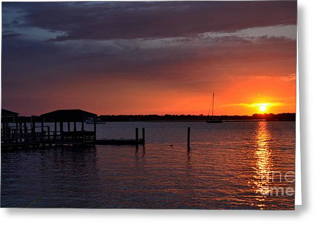 Boat House Sunset  Greeting Card