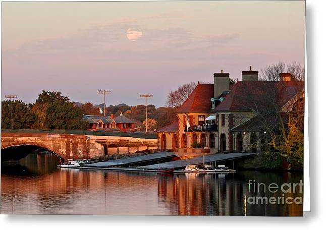 Boat Houses At Dawn Greeting Card