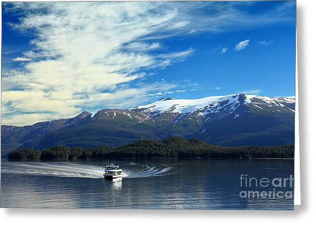 Boat In Alaska Fjord Greeting Card