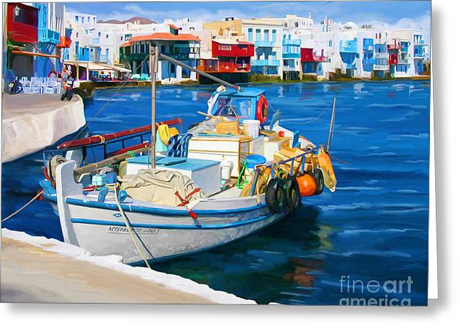 Greeting Card featuring the painting Boat In Greece by Tim Gilliland