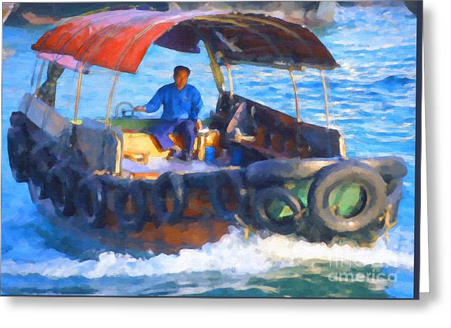 Boat In Kowloon Harbour Greeting Card by Liz Leyden