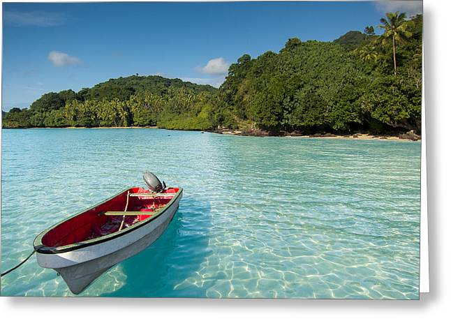 Boat In Lagoon Greeting Card