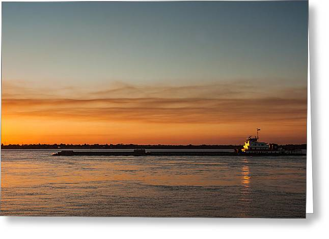 Boat In Sunset Greeting Card by Carlos V Bidart