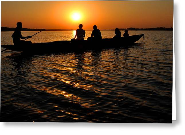 Boat In Sunset On Chilika Lake India Greeting Card