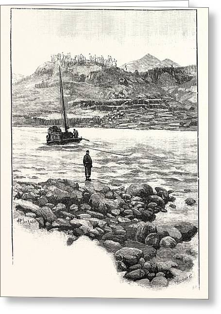 Boat In The Rapids. Western China 2000 Miles From Shanghai Greeting Card by Chinese School