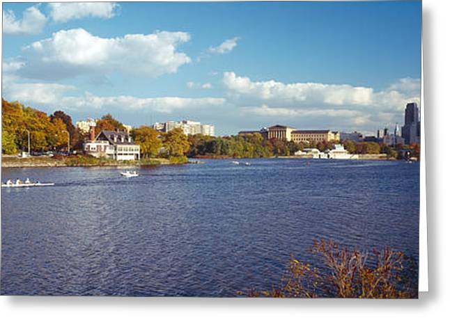 Boat In The River, Schuylkill River Greeting Card by Panoramic Images