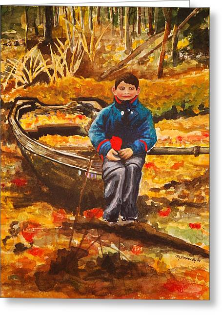 Boat In The Woods Greeting Card