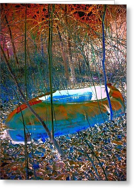 Greeting Card featuring the photograph Boat In The Woods by Karen Newell