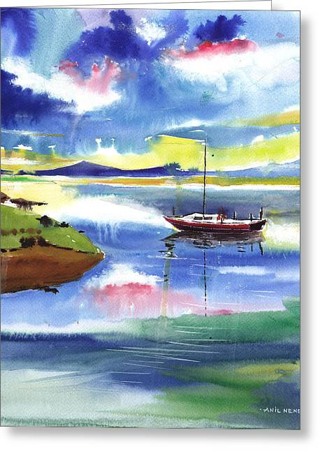 Boat N Colors Greeting Card by Anil Nene