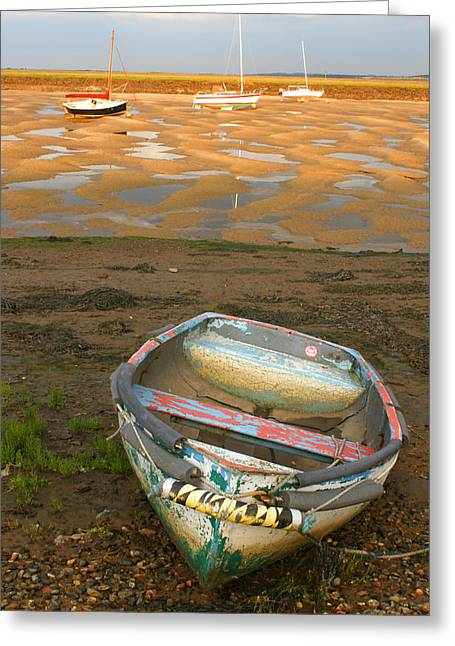 Boat Of Many Colours Greeting Card