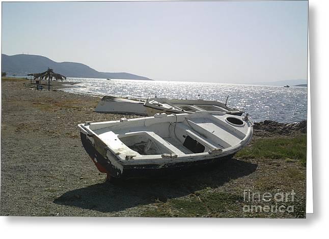 Boat On Alyki Beach Greeting Card by Katerina Kostaki