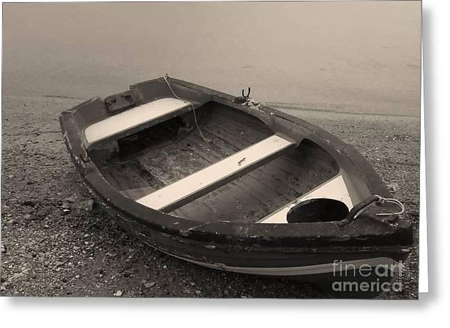 Boat On Black Greeting Card by Katerina Kostaki