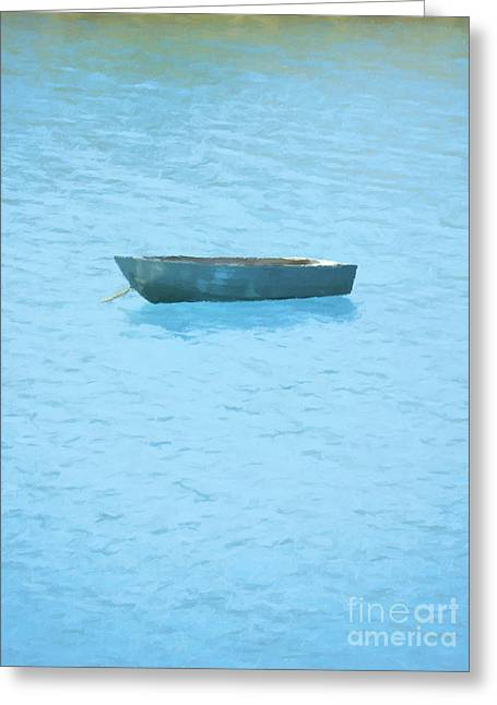 Boat On Blue Lake Greeting Card by Pixel Chimp