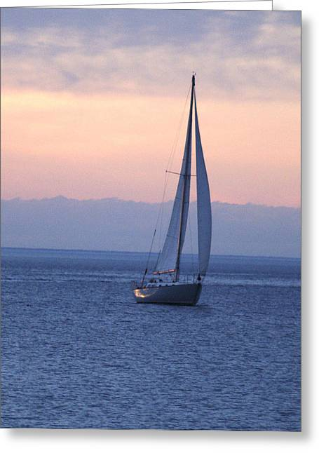 Boat On Lake Michigan Greeting Card by Susan Crossman Buscho