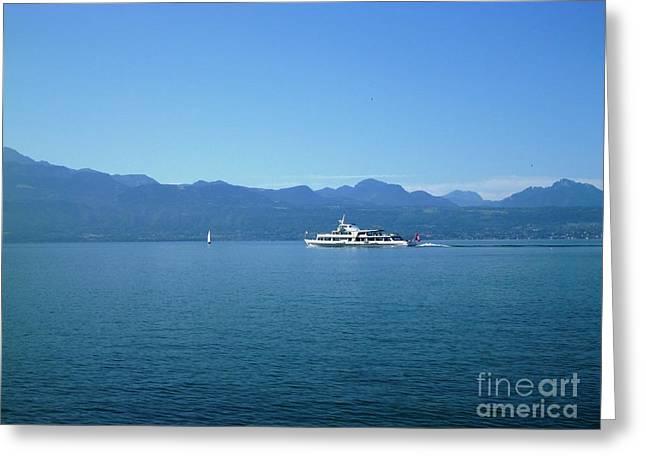 Boat On Leman Lake - Swiss Greeting Card