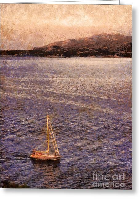 Boat On Ocean At Dusk Greeting Card