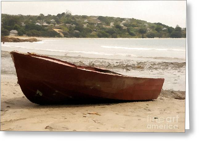 Boat On Shore 02 Greeting Card by Pixel Chimp