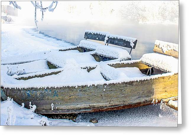 Boat On The Bank Of The Winter River Greeting Card