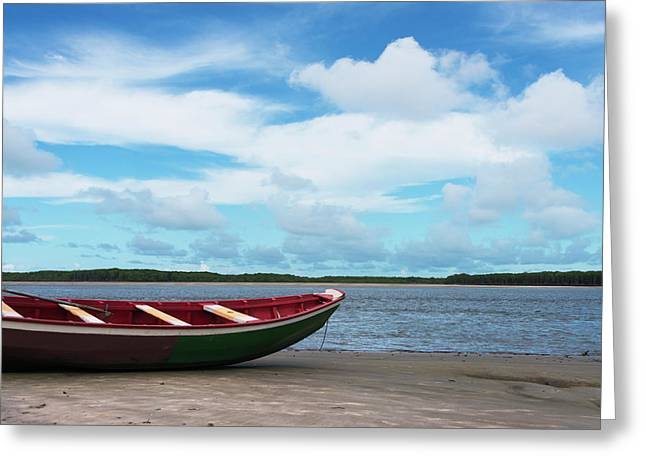 Boat On The Beach Along The Preguicas Greeting Card by Keren Su