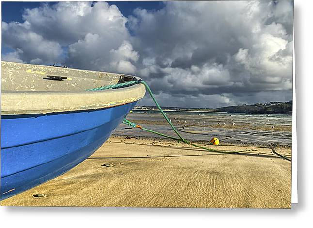 Blue Boat At St Ives Greeting Card