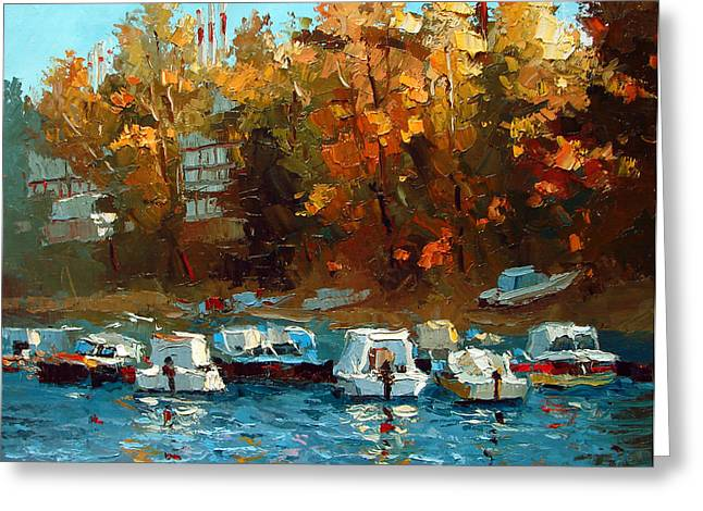 Greeting Card featuring the painting Boat On The Waterfront by Dmitry Spiros