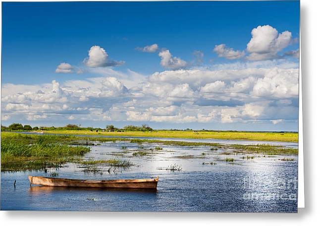 wooden boat in Biebrza wetland area landscape  Greeting Card