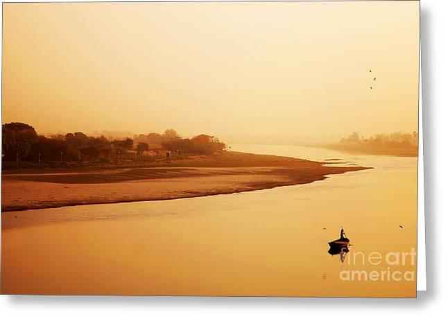 Boat On Yamuna River Greeting Card by Sorin Rechitan