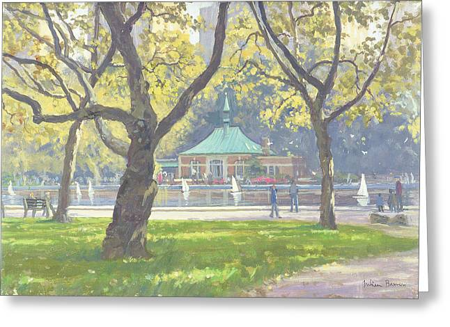 Boat Pond, Central Park Oil On Canvas Greeting Card